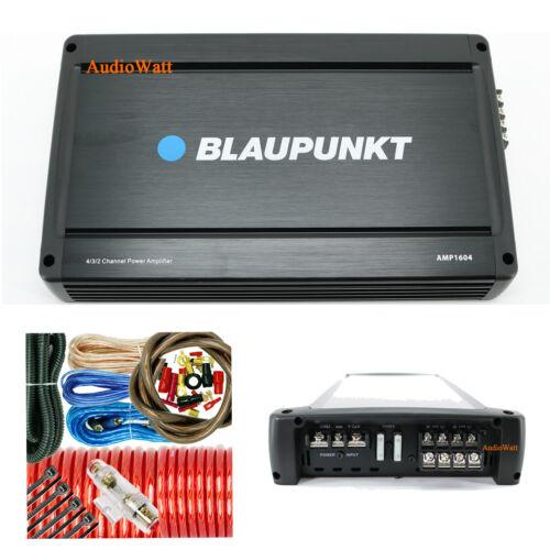 BLAUPUNKT AMP1604 1600W CAR AUDIO 4 CHANNEL AMP AMPLIFIER + 4 GAUGE AMP-KIT
