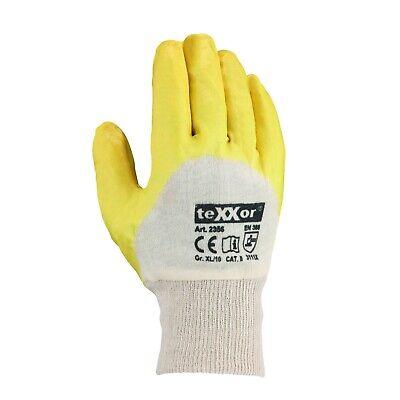 12-144 Paar Arbeitshandschuhe Nitril Schutzhandschuhe Handschuhe Gelb teXXor Top