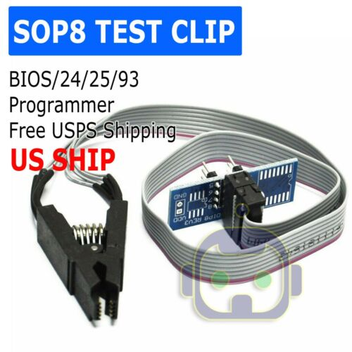 SOIC8 SOP8 Flash Chip IC Test Clips Socket Adpter BIOS/24/25/93 Programmer
