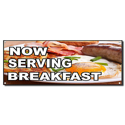 Now Serving Breakfast Business Vinyl Banner Sign W Grommets 2 Ft X 4 Ft