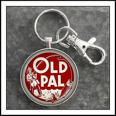 Vintage Fishing Old Pal Minnow Bucket Photo Keychain Father's Day Gift  🎁