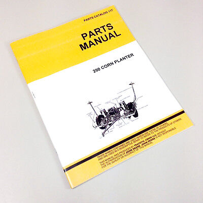 Parts Manual For John Deere 290 Corn Planter Drill Catalog Seed Grain Corn