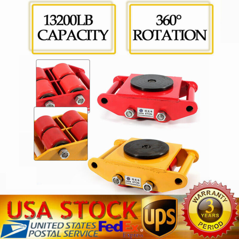 4 Rollers Industrial Machinery Mover With 360°rotation Cap 13200lbs Dolly Skate