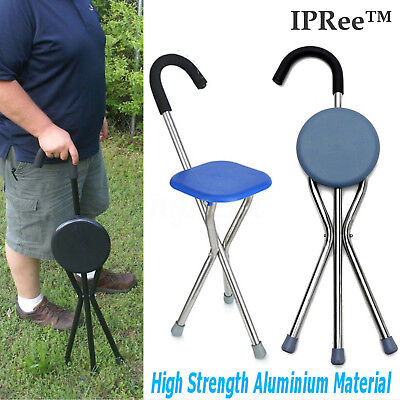 IPRee Folding Portable Mobility Aids Tripod Walking Stick Cane Stool Chair Seat, used for sale  Shipping to Canada