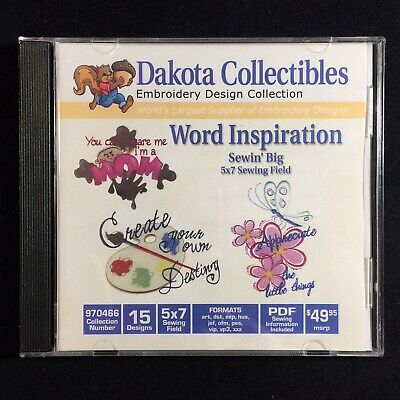 Word Inspiration Embroidery Designs Multi-format CD from Dakota Collectibles ()