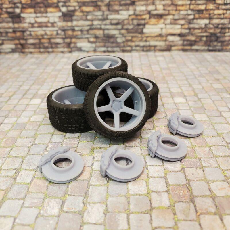 "1/24 Scale 3D Printed 20"" Staggered Depth Lexani Savage Wheels w Tires & Brakes"