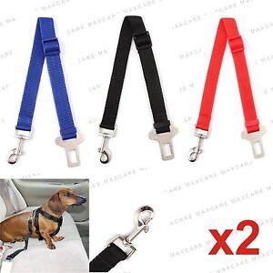 2x DOG PET CAR SAFETY SEAT BELT HARNESS RESTRAINT ADJUSTABLE LEAD TRAVEL CLIP