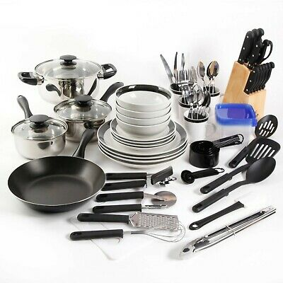Dinnerware Sets Square (Kitchen Combo Set Home Essential Total Cookware Dinnerware Pots and Pans 83)