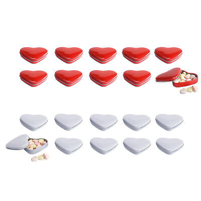 10 Heart shaped tin boxes 24gr heart sweets Wedding favour RED/ WHITE metallic Heart Shaped Favor Tins