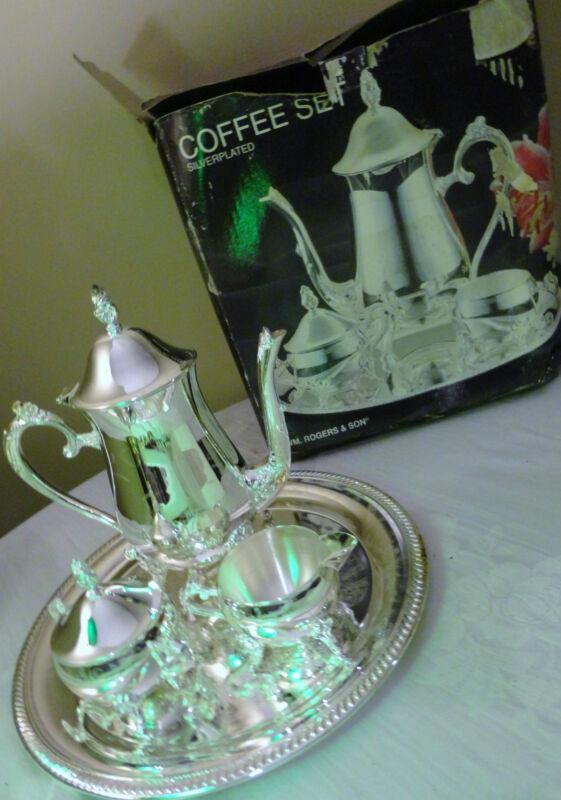 Wm. Rogers Sons 4 Pc Silver Plated Coffee Set Coffee Pot Creamer Sugar Pot & Lid