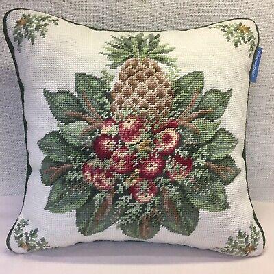 """Williamsburg Pineapple Needlepoint Wool & Velvet Throw Pillow 13"""""""