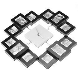 Multi 12 Pic Modern Family Photo Frame Wall Clock G28