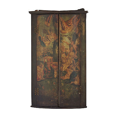 18th Century Georgian Painted Corner Cupboard. Original Antique Paintwork.