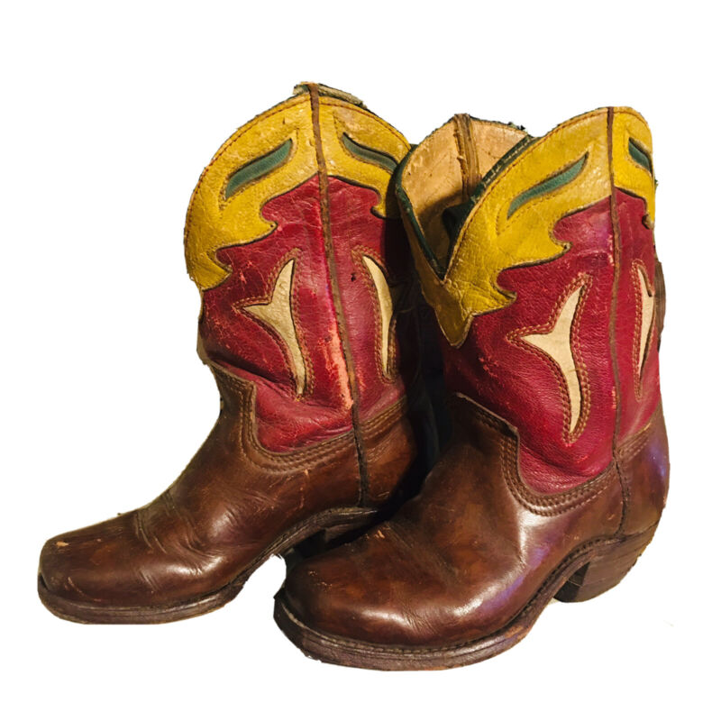 Vintage Acme Childs Peewee Cowboy Boots Cutouts