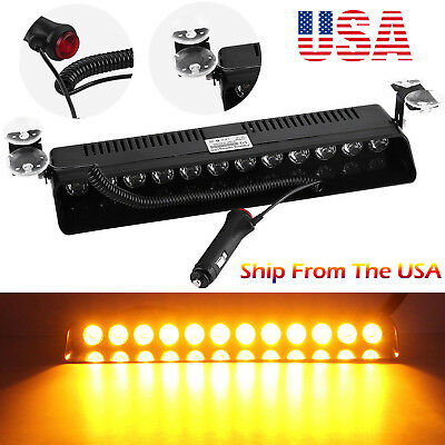 12 LED Strobe Light Bar Emergency Warning Flash Beacon Hazard AMBER Safety Lamp