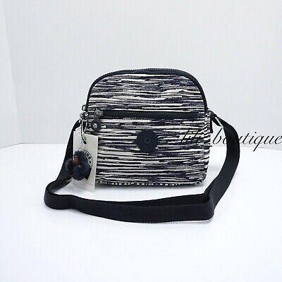 NWT Kipling HB6468 Keefe Shoulder Crossbody Bag Double Zip Nylon Scribble Lines