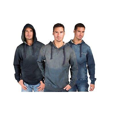 Denim Ribbed Sweatshirt (Level 7 Mens Pullover Hoodie Sweatshirts Dark Tainted Knit Denim Side Rib Insert )