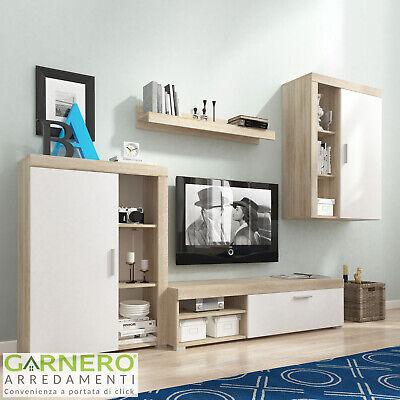 Parete attrezzata ROI mobile soggiorno moderno tv design salotto bianco rovere
