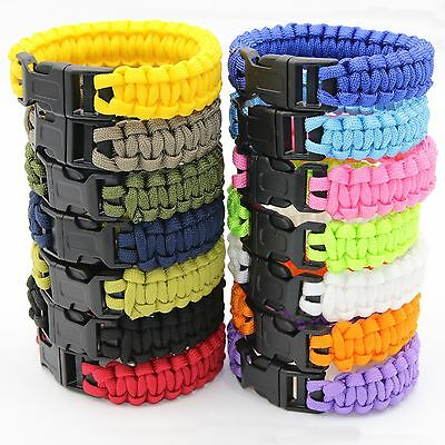 550 Paracord Survival Bracelet Rope Wristband Mens Camping Hiking Emergency Gear