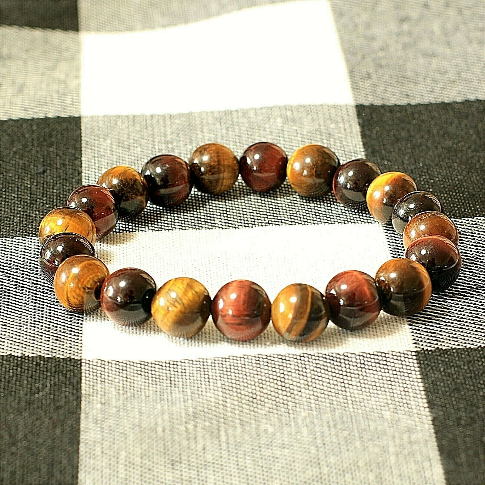 10 mm Red/Yellow Tiger Eye Beaded Healing Bracelet Men/Women Chakra Gem Stone 1