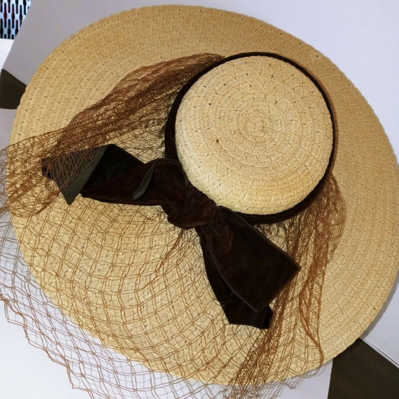 Vintage Marche New York Straw Boaters Hat Womens