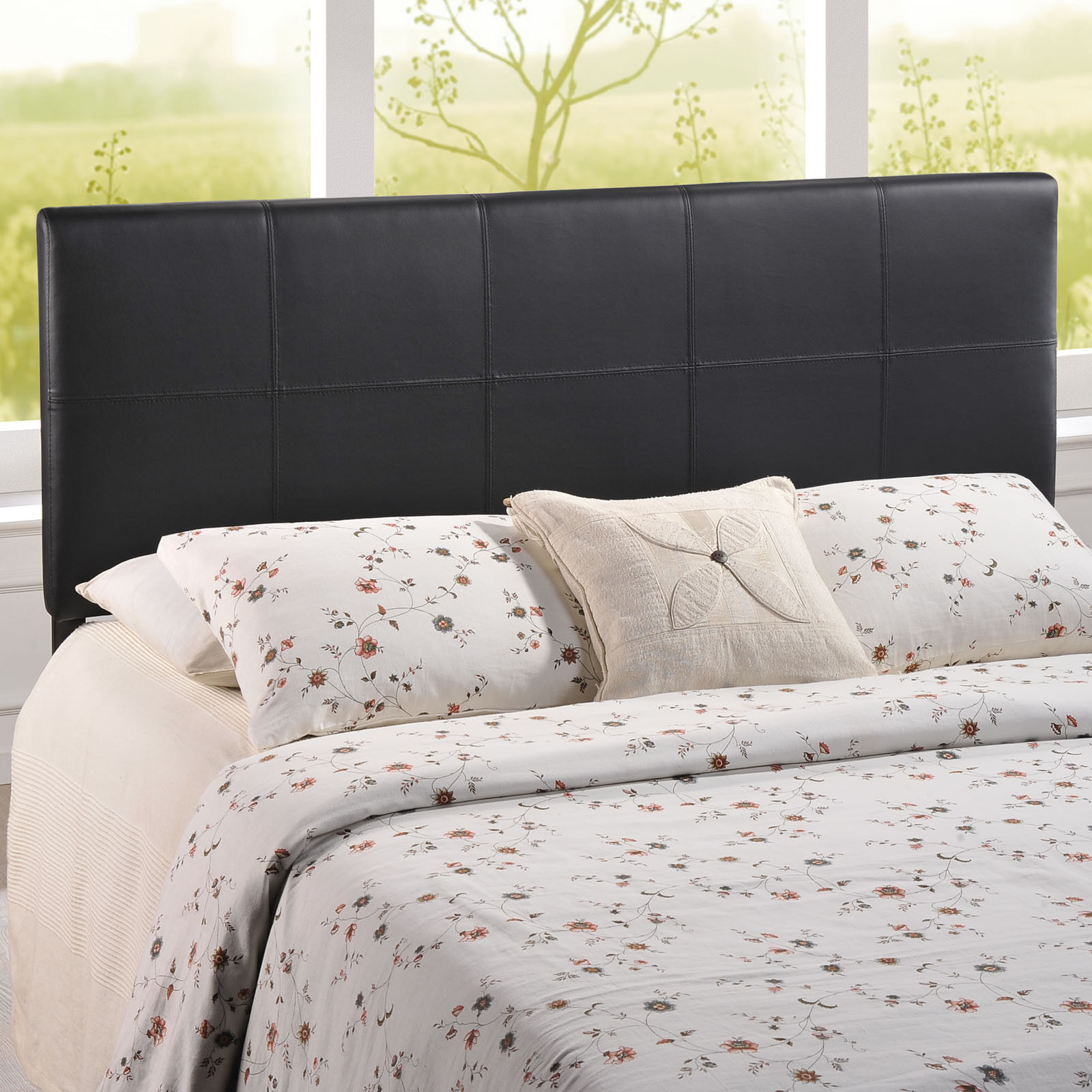 Contemporary Tiled Upholstered Faux Leather Square Queen Size Headboard in Brown