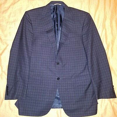 Canali 1934 Navy Check Sport Coat Jacket Blazer 40R Plaid Recent