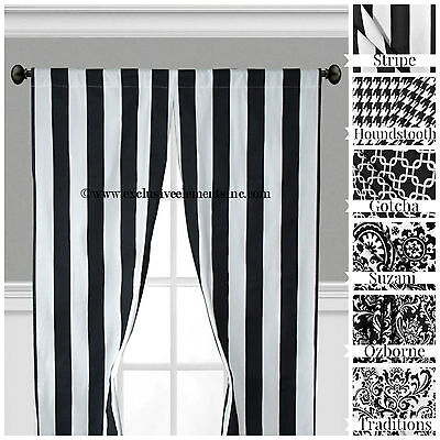 Black and White Curtain Panels Window Treatments Drapes Modern Curtains Decor ()