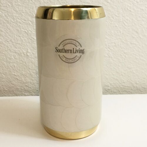 NWT Southern Living Ivory Shell Gold Brass Bathroom Toothbrush Holder