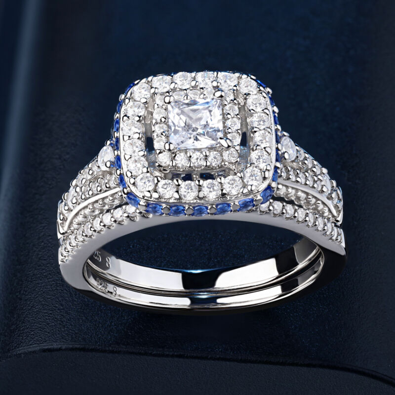 Newshe Engagement Wedding Ring Set For Women Princess Cz Blue Sterling Silver