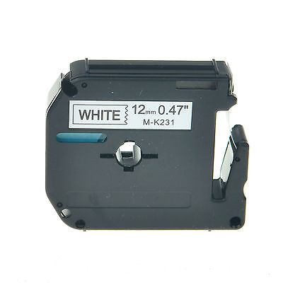 1pk Black On White Label Tape Mk-231 For Brother P-touch Pt-90 Printer 12mm