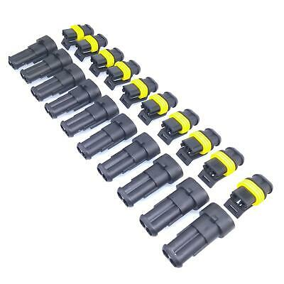Us Stock 10 Sets 2 Pin Way Sealed Waterproof Electrical Wire Connector Plug Kit