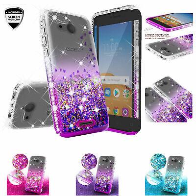 Alcatel Tetra Case Rhinestone Liquid Glitter Bling Cute Cover + Tempered -