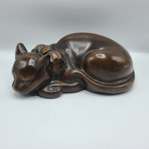 Antique Japanese Bronze Large Size Figure of a Sleeping Cat