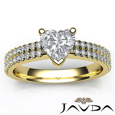 Women's Heart Diamond Engagement Prong Set Yellow Gold Ring GIA H Color VVS2 1Ct 3