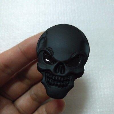 2 X Black 3D Skull Head Emblem Badge Car Body Fuel tank cap rearview mirror