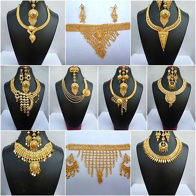 Indian Gold Jewelry - Indian 22K Gold Plated Wedding Necklace Earrings Jewelry Variations tikka Set c.