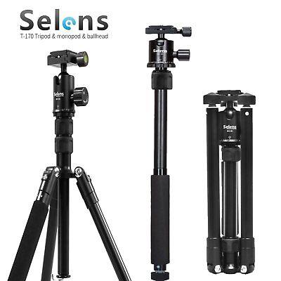 "Selens T-170 Travel Tripod Monopod with Ballhead for DSLR Camera Portable 62"""
