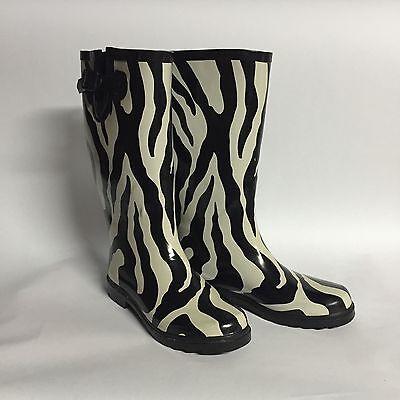 NATURE BREEZE ZEBRA DESIGN TALL RUBBER RAIN BOOTS WOMENS SIZE (Zebra Tall Boot)
