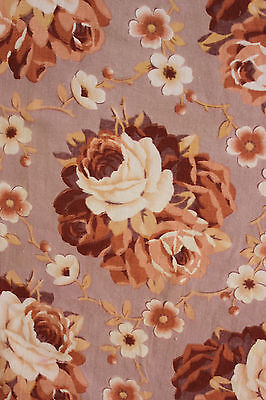 Vintage french printed cotton c1920's large scale rose floral design cotton