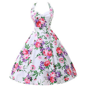 LADIES VINTAGE 50S 60S STYLE FLORAL ROCKABILLY PARTY SWING PROM EVENING DRESS