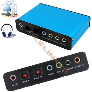 USB External 5.1 Channel Sound Card Audio PC Adapter + SPDIF Optical 3.5mm Jack