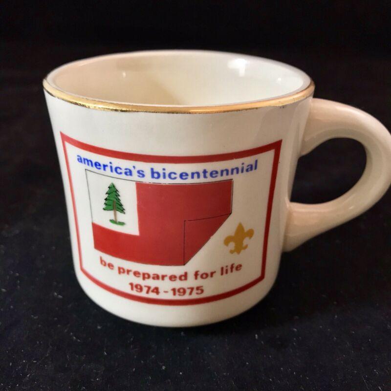 Vintage 1974 Boy Scouts Coffee Cup Mug Americas Bicentennial 1974-1975 USA