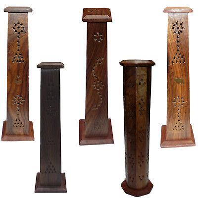 Wooden Carved Incense Burner Cone Holder Tower 12