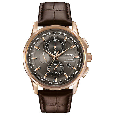 Citizen Eco-Drive Men's World Time Chronograph Rose Gold 43mm Watch AT8113-04H