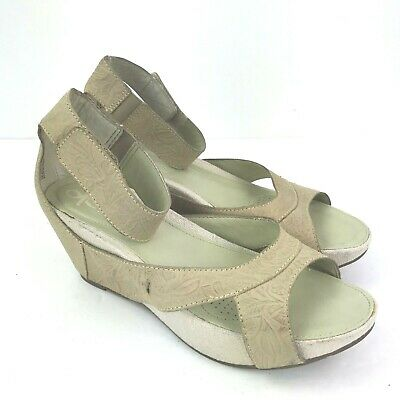 Embossed Wedge Sandals - OTBT Hobart Beige Leather Embossed Wedge Ankle Strap Open Toe Sandals Sz 8.5