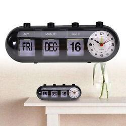 Retro Battery Power Quartz Alarm Clock Flip Date & Day & Time Display Black
