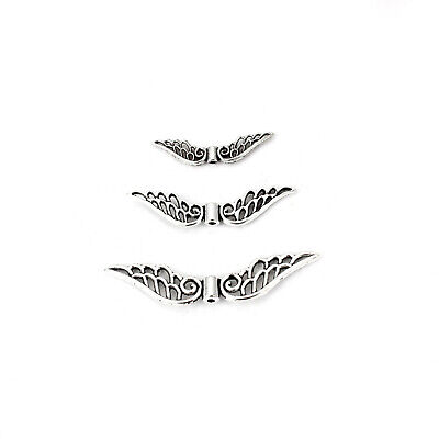 50PCS Antique Silver Fairy Angel Wing Spacer Charms Beads DIY Jewelry Findings