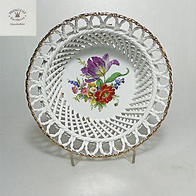 Durchbruch Porzellan Schale Schälchen ca.18 x 6,5 cm Blumendekor Handarbeit