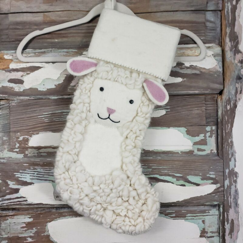 NWT RH Baby & Child Handmade Wool Felt Lamb Holiday Stocking Restration Hardware